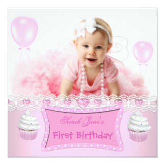 First Birthday 1st Girl Pink Cupcakes Baby 2 Card