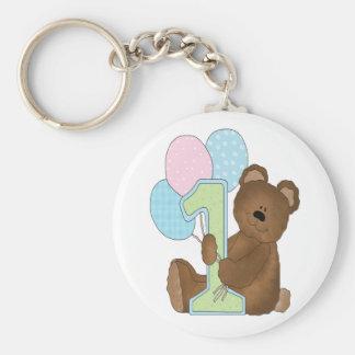 First Birthday Bear & Balloons Basic Round Button Key Ring