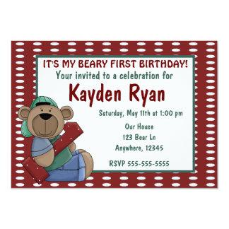 First Birthday Bear Boys invitation
