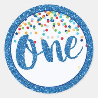 First Birthday Blue Glitter Round Sticker