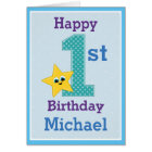 First Birthday Boy, Blue with Yellow Star Card