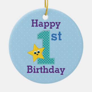 First Birthday Boy, Blue with Yellow Star Round Ceramic Decoration
