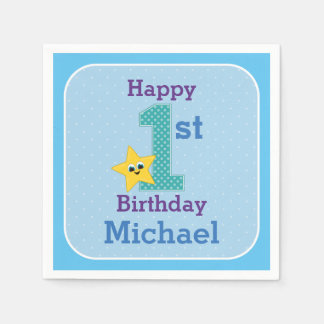 First Birthday Boy, Blue, Yellow Star with Name Paper Napkin