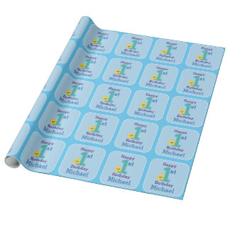 First Birthday Boy, Blue Yellow Star with Name Wrapping Paper