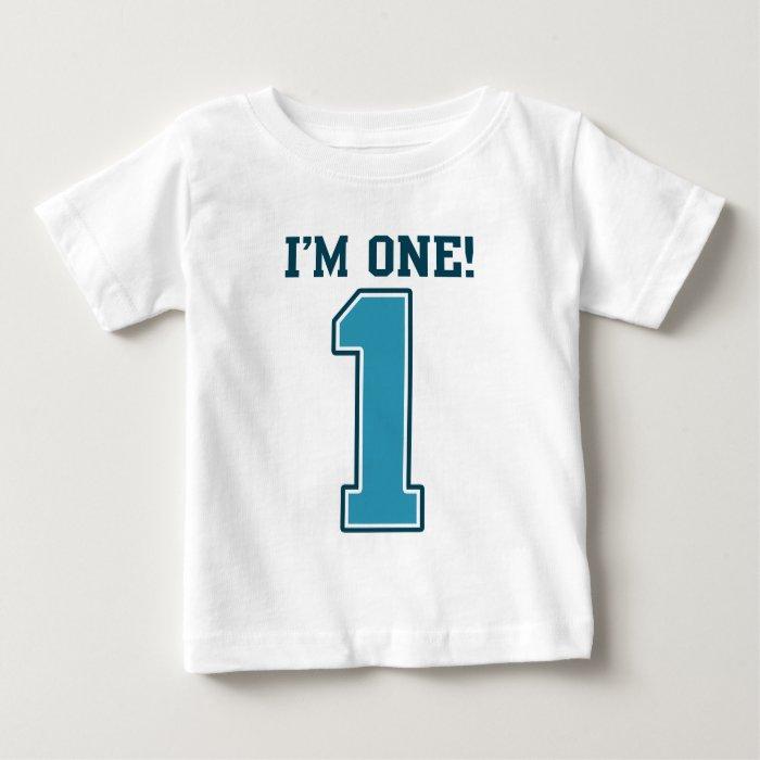 First Birthday Boy, I'm One, Big Blue Number 1 Baby T-Shirt