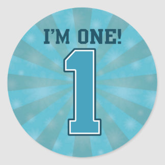 First Birthday Boy, I'm One, Big Blue Number 1 Classic Round Sticker
