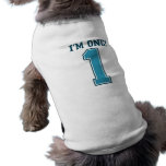 First Birthday Boy, I'm One, Big Blue Number 1 Doggie Shirt
