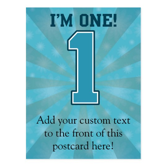 First Birthday Boy, I'm One, Big Blue Number 1 Postcard