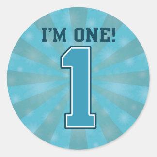 First Birthday Boy, I'm One, Big Blue Number 1 Round Sticker