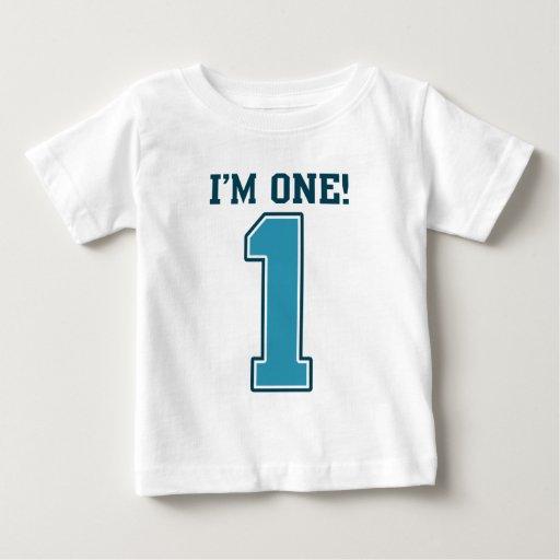 First Birthday Boy, I'm One, Big Blue Number 1 Shirt