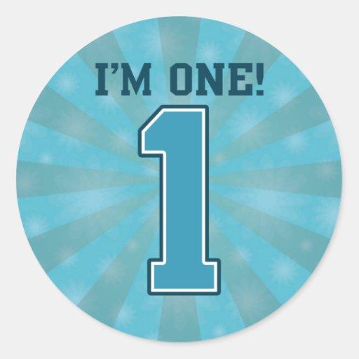 First Birthday Boy, I'm One, Big Blue Number 1 Sticker