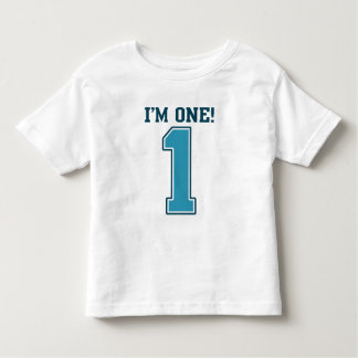 First Birthday Boy, I'm One, Big Blue Number 1 Toddler T-Shirt