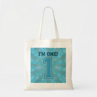 First Birthday Boy, I'm One, Big Blue Number 1 Tote Bag