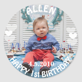 First Birthday Boy Photo Sticker