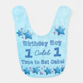 First Birthday Boy's Blue Personalized Big Bibs