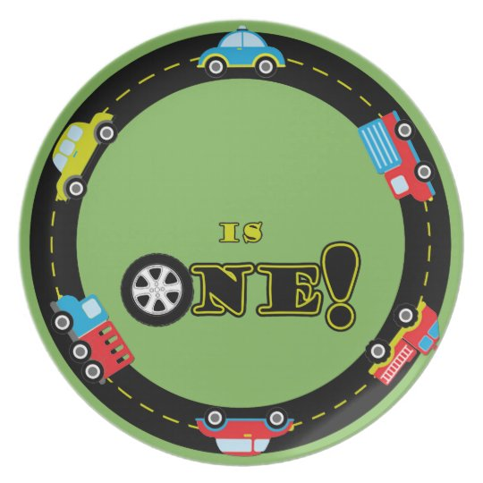 First Birthday Cars Customisable Plate