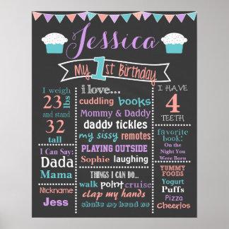 First Birthday Chalkboard Cupcake Sign - Girl