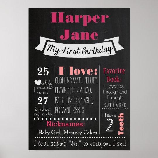 First Birthday Chalkboard Poster Girl