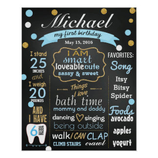 First Birthday Chalkboard sign confetti blue boy Poster