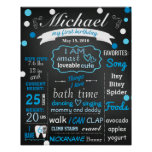 First Birthday Chalkboard sign confetti blue Poster