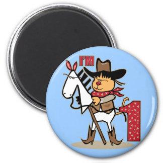 First Birthday Cowboy Stick Horse Age 1 6 Cm Round Magnet