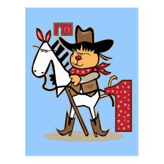 First Birthday Cowboy Stick Horse Age 1 Postcard