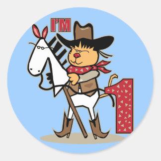 First Birthday Cowboy Stick Horse Age 1 Round Sticker