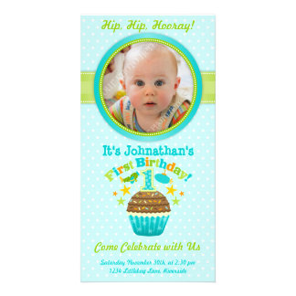 First Birthday Cupcake (Boy) Personalized Photo Card