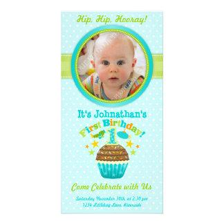 First Birthday Cupcake (Boy) Personalized Photo Card
