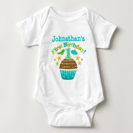 First Birthday Cupcake (Boys) Baby Bodysuit