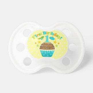 First Birthday Cupcake (Boys) Binky Pacifiers