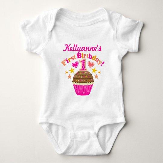 First Birthday Cupcake (Girls) Baby Bodysuit