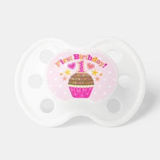 First Birthday Cupcake (Girls) Binky Pacifiers