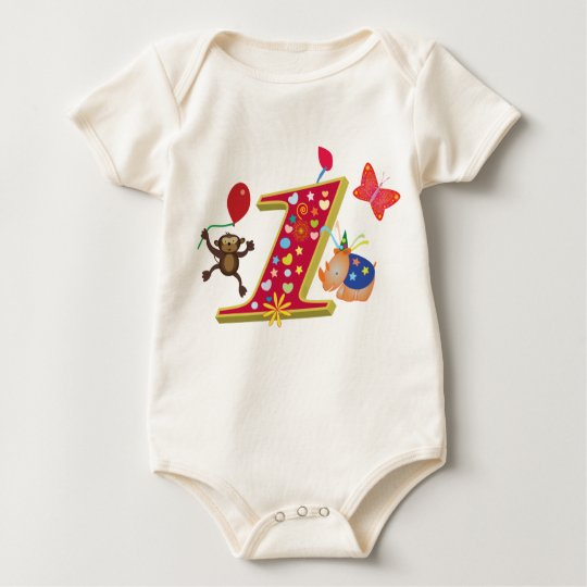 first birthday: Cute and fun Animals Baby Bodysuit