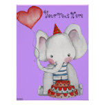 First Birthday Elephant Poster for Children