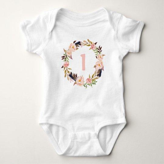 First Birthday Floral Wreath Boho Baby Bodysuit