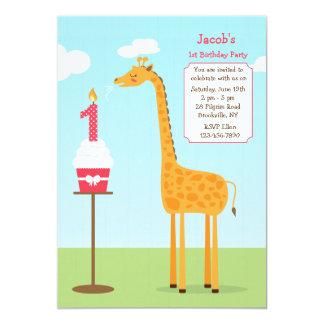 First Birthday Giraffe Invitation