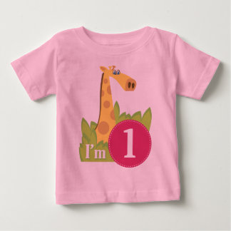 First Birthday Girl Giraffe Baby T-Shirt