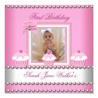 First Birthday Girl Pink Cupcakes White Baby Card