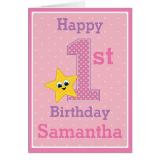 First Birthday Girl, Pink with Yellow Star Card