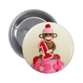 First Birthday Girl Sock Monkey Celebration 6 Cm Round Badge