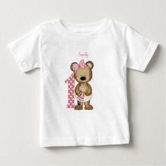 First Birthday Girl Teddy Bear with Doll T-Shirt