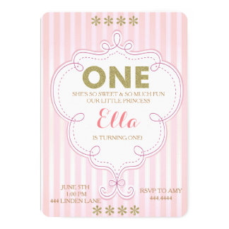 First Birthday Gold and Pink Birthday Invitations