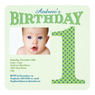 First Birthday Green Polka Dot Party Invitation