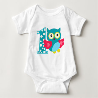 First Birthday Happy Owl Baby Bodysuit