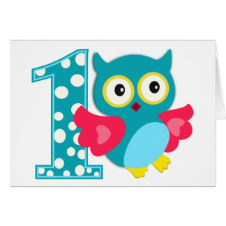 First Birthday Happy Owl Greeting Card