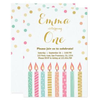 First birthday invitation Girl Confetti Candles