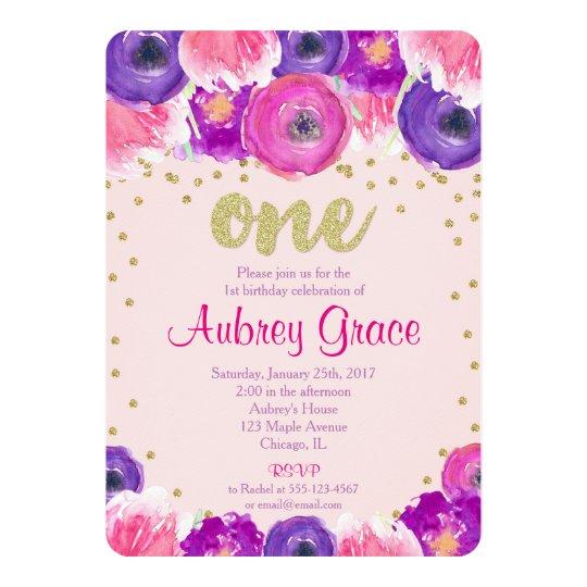 First birthday invitation girl, pink purple gold