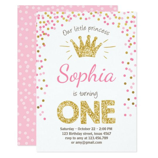 First birthday invitation princess gold pink zazzle first birthday invitation princess gold pink stopboris Choice Image