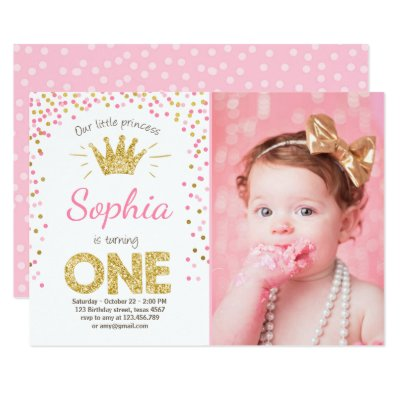 First Birthday Invitation Princess Gold Pink Zazzle Co Uk